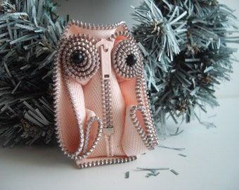 Pastel Pink  Zipper Statement Owl Brooch Handsewn Wearable Zipper Art Collectible