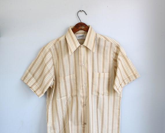 vintage 1950s men's short sleeve shirt. Size med. Deadstock. Haband's Genuine Palo Alto. Rockabilly Mad Men / the SMORES shirt