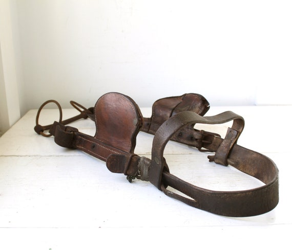 RESERVED   Antique 1800s horse bridle / Benefits Hurricane Relief / Horse harness / Rustic primitive equestrian home decor. Autumn brown.