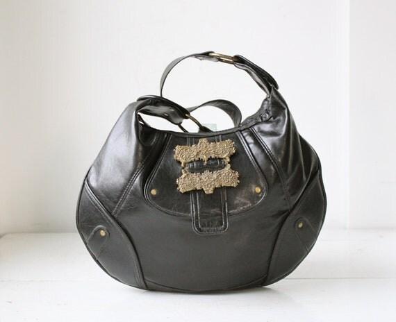 Sale / vintage hobo bag. Vegan purse / black leatherette / pirate baroque / black purse / hippie handbag / the COFFEE SHOP purse
