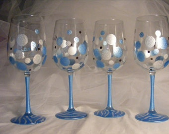 polka dot wine glasses with zebra print in blue and white - for a baby shower, bridal shower or bridesmaids