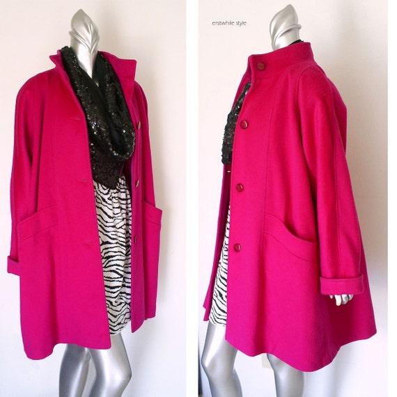1980s GALLERY Fuchsia Wool Swing Coat XL