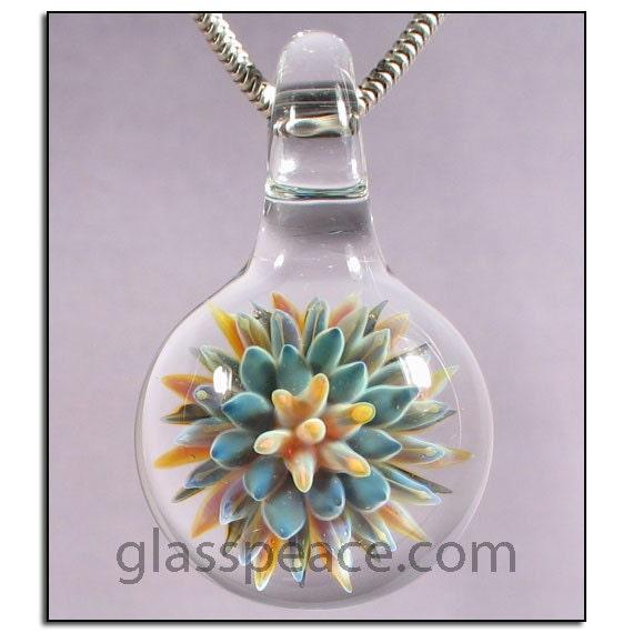 SALE - Sea Anemone Glass Pendant - Boro Lampwork Bead - Handblown Glass Jewelry (4467)
