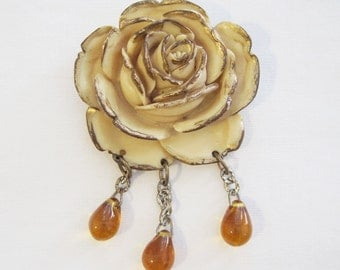 40s Brooch Vintage Rose Early Plastic or Resin Flower Pin with glass dangles