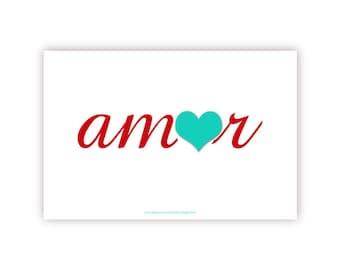 Love in Spanish or Portuguese - Amor - 8 X 10 Print