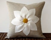 White and Yellow Flower PILLOW COVER in Natural Linen by JillianReneDecor Decorative Home Decor (16x16) Gift for Her