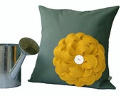 Mustard Yellow Flower Pillow in Mint - Floral Home Decor by JillianReneDecor Made to Order Gift for Her Grayed Jade