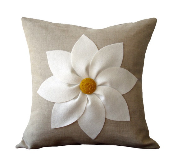 White and Yellow Flower PILLOW COVER in Natural Linen by JillianReneDecor Decorative Home Decor (16x16) Floral