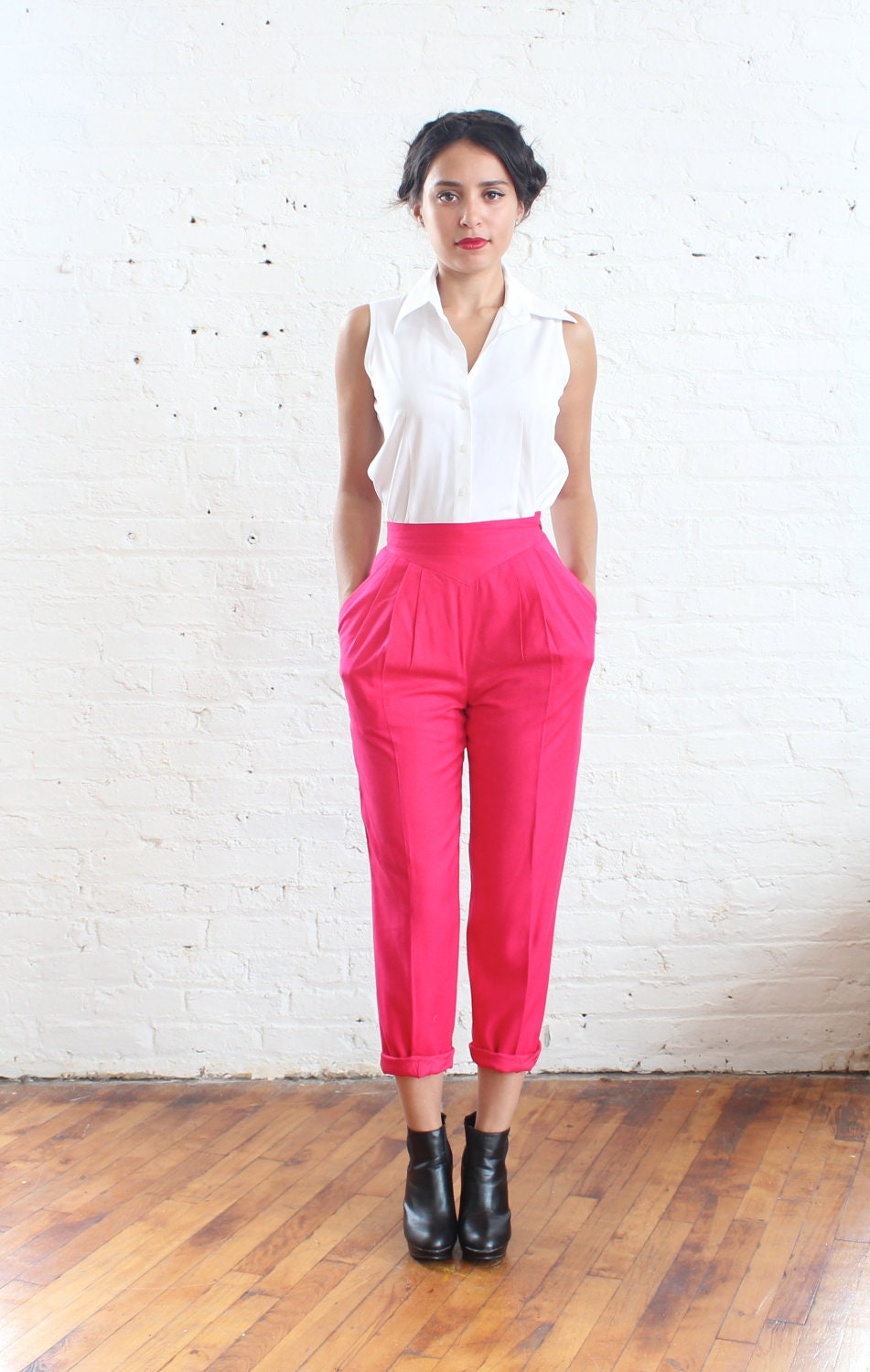 high waisted pants hot pink silk trousers xs