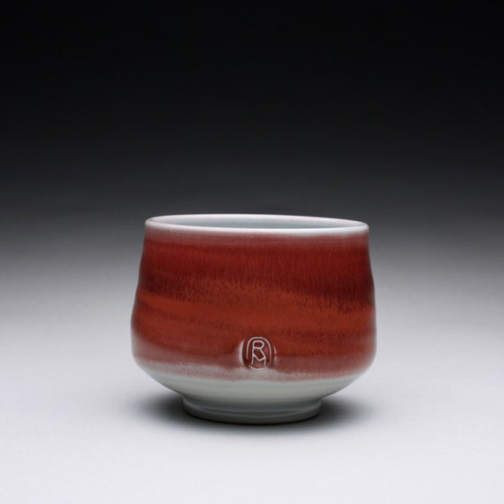 porcelain tea bowl -  chawan with bright red and turquoise celadon glazes