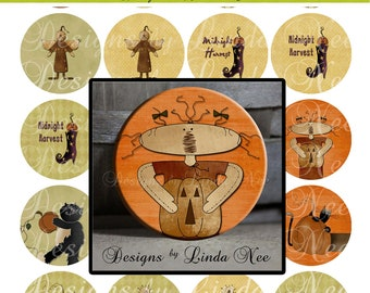 Pinback BUTTON Images 2.25 inch round 2.625 overall size - Primitive Harvest Digital Collage Sheet AMERICAN BUTTON Machine Tecre