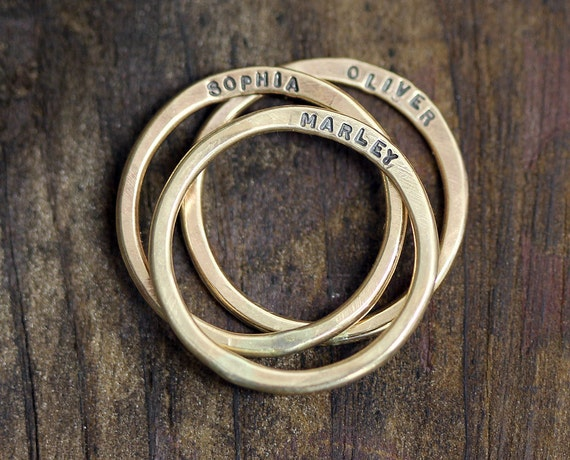 14k Yellow Gold Personalized Hammered Rings - Set of 3 (E0285)
