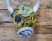 Ceramic Cow Head with Flower