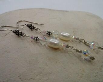 Fresh Water Pearl and AB Swarovski Crystal Beaded Earrings