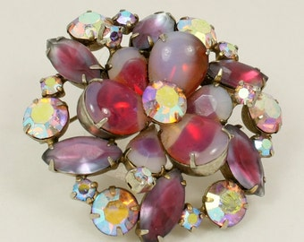 Vintage Juliana Style Rhinestone Brooch, Pink Opalescent Art Glass Floral Cluster Shawl Pin