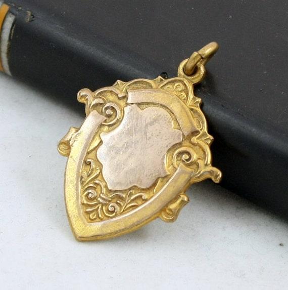 Antique Edwardian Brass Shield Watch Fob Medal Art Nouveau Pendant