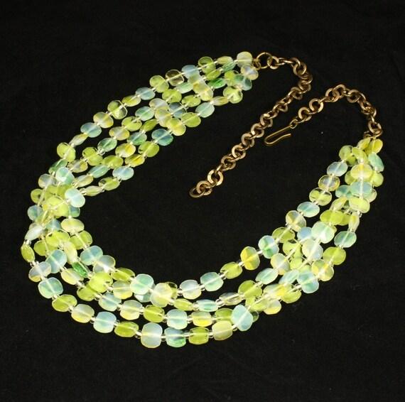 Vintage Multi Strand Necklace Vaseline Uranium Glass Bead Western Germany