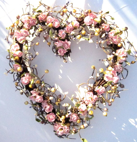 Heart Shaped Wreath - Pink Roses and Purple Berries -  Romantic Gift