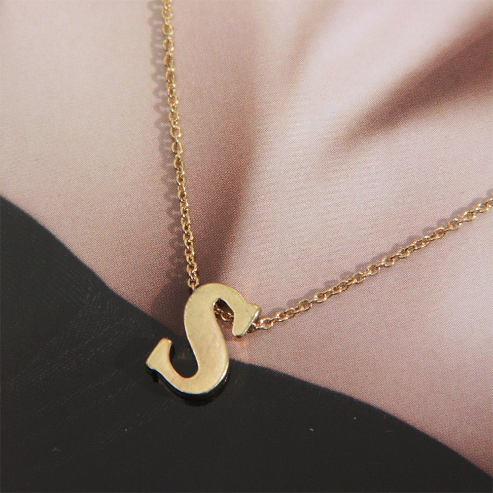 letter a initial necklace tiny initial necklace letter s necklace letter charm by stjern 17416 | il fullxfull.354313846 mkfr
