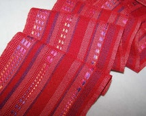 Handwoven Scarf - Tencel, Rayon Red with ribbon accent