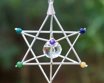 7 Chakras Merkaba Suncatcher / Pendulum - GEMSTONE - Silver Tones