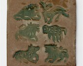 Primitive Stoneware Tile Glazed With Peaceable Kingdom Lion and Lamb for Baby's Room