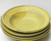 Yellow Pasta Bowls Set of Four Stoneware Hand Made