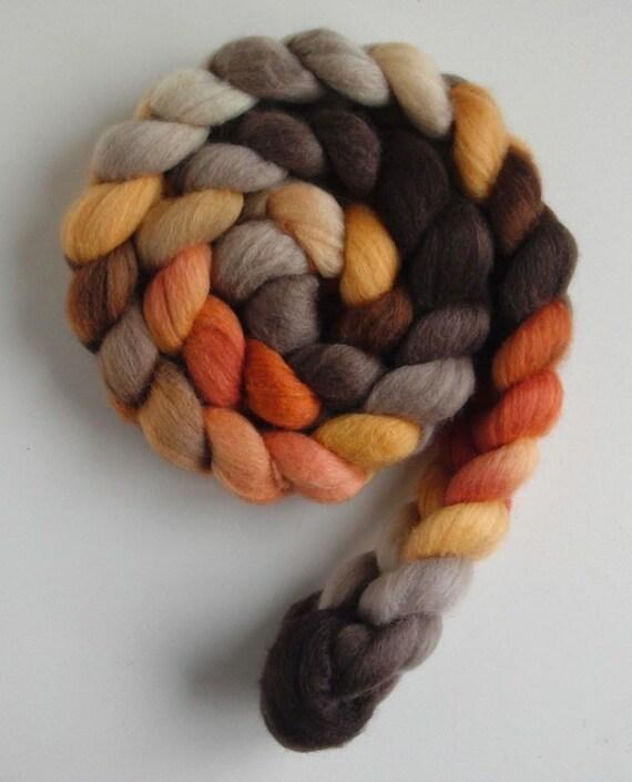 Polwarth/Silk Roving (Top) - Handpainted Spinning or Felting Fiber, Fall Foliage 7