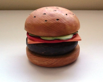Cheese burger wooden play food