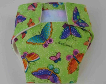 Baby Doll Diaper/Wipe-Butterflys on Green Fabric - Adjustable to Fit Bitty Baby, Baby Alive, Cabbage Patch, American Girl Dolls