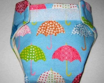 Baby Doll Cloth Diaper-Colored Umbrellas-Adjustable to Fit Bitty Baby, Baby Alive, Cabbage Patch, American Girl Dolls and More
