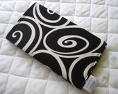 CUSTOM MADE to Order Checkbook Cover or Coupon Organizer Black and White Swirls Curls
