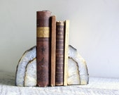 Vintage Geode Agate Rock Bookends