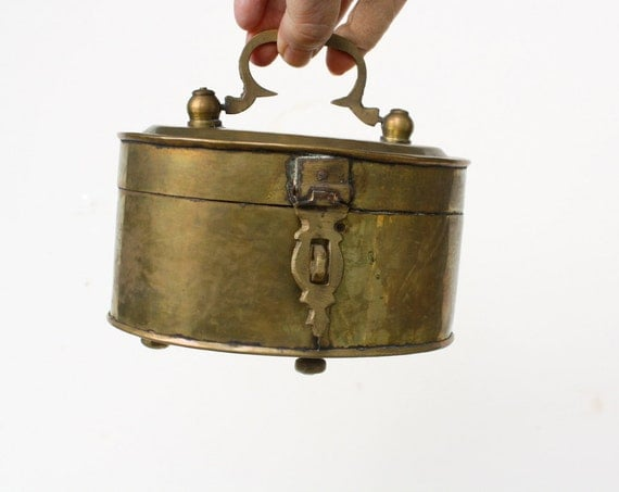 Vintage Oval Brass Cricket Box