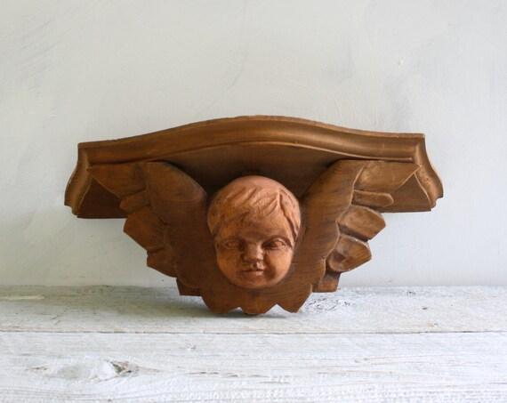 Vintage Wood Hand Carved Cherub Shelf