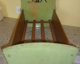 Charming Shabby Antique Doll Bed  Folk Art 1940's wood toy doll cradle