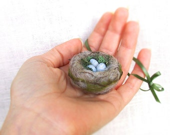 Spring Bird Nest with Eggs Ornament  Felted Miniature - Natural moss and wool Nature Decor Made To Order