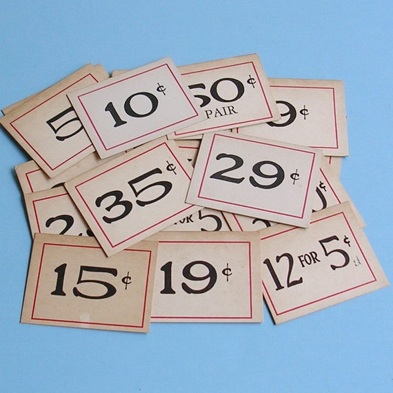 Antique Grocery Store Price Tags Vintage Ephemera 20 Numbered Tags
