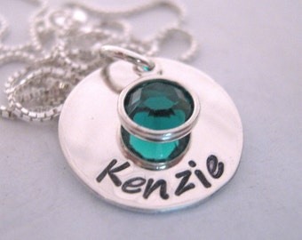 Birthstone Necklace - hand stamped jewelry - Mothers Necklace