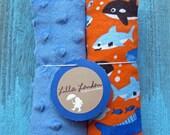 Boys reversible car seat belt strap covers orange sharks and blue dot minky