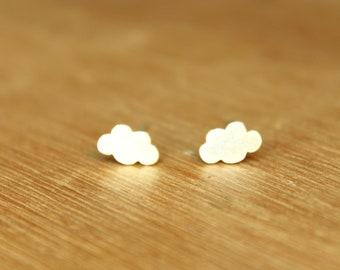 Tiny Cumulus Clouds stud Earrings- Sterling Silver