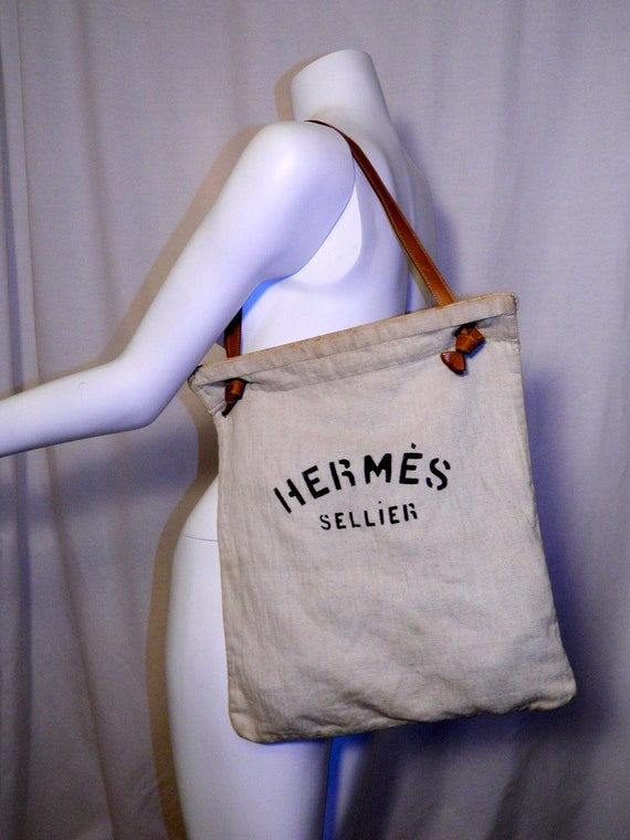 5a6ca35ec4ec vintage 1970s feed bag HERMES Sellier canvas purse by retrotrend