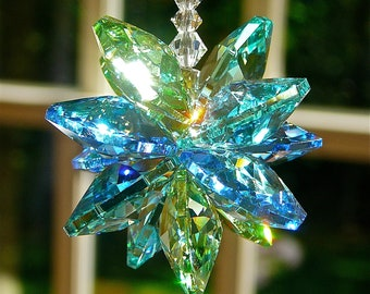 """Suncatcher Made with Swarovski Crystals in Ocean Colors 5"""" for  Rear View Mirror or 9"""" for Home Window - """"HATTERAS"""" - Heartstrings by Morgan"""