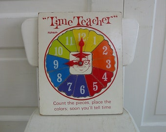 Vintage Puzzle Telling Time Child Playskool Colorful Wood Numbers Teacher