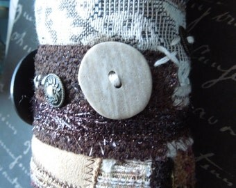 Brown Bohemian Upcycled Repurposed Textile Fabric Bracelet Cuff with  Stone Button