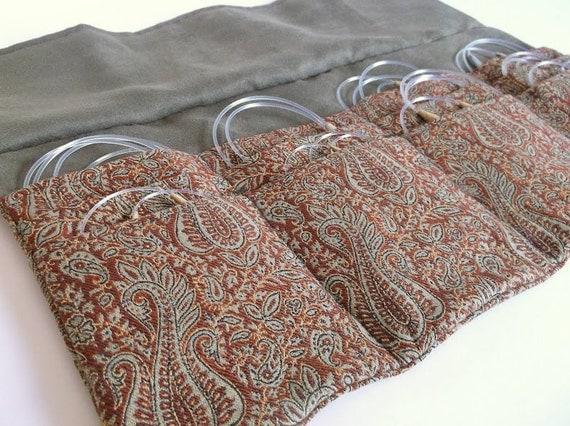 Circular Knitting Fabric : Circular knitting needle case woven paisley fabric deluxe gift