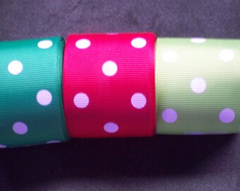 "7/8"" Grosgrain Ribbons 3 Yards, Your Choice of Colors,Red, Green, Apple Green Dots,"