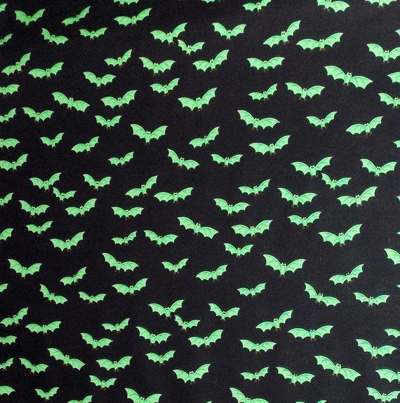"Green Bat  Halloween Fabric End of Bolt 20"" by 44"""