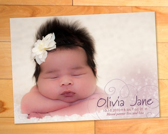Baby Girl Announcement, Swirls, Custom Photo Card