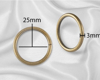 "100pcs - 1"" Metal O Rings Non Welded Antique Brass - Free Shipping (O-RING ORG-112)"